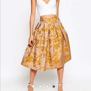 ASOS Midi Prom Skirt in Quilter Floral Jacquard